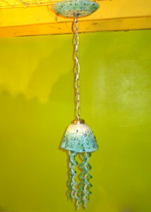 Blown Glass Chandelier - Jellyfish Light - White Turquoise Teal Chandelier