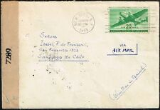 920 US TO CHILE CENSORED AIR MAIL COVER 1945 NEW YORK - SANTIAGO
