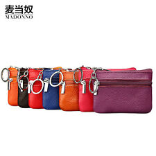 Women Leather Mini Change Wallet Bus Card Coin Purse With Key Clip Double Zipper