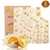 6 Pcs Set Natural Reusable Beeswax Food Wraps Food Cover Eco-Friendly S/M/L