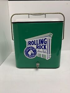 Vintage Rolling Rock Carry Cooler Green/White Mfg CO Bottle Opener Drain Spout
