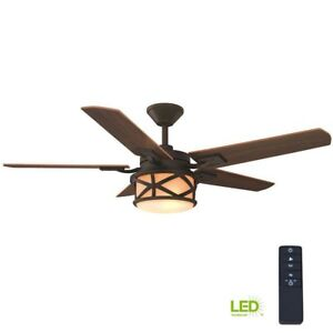 Copley 52 in. Indoor/Outdoor LED Ceiling Fan Oil-Rubbed Bronze w/ Remote Control