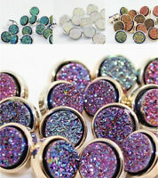 8Pcs Shimmer Round Silver Plated Buttons DIY Sewing Shirt Button Backhole 11mm