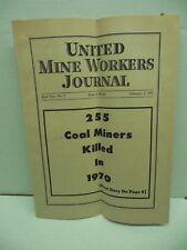 Vintage Coal Mining UMWA United Mine Workers Journal Feb.1971 Miners Killed