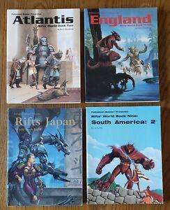 RIFTS RPG, 4 Book Lot. South America 2, Atlantis, Japan, England Palladium Books