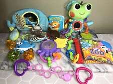 Lot Of 7 Baby Plush Hanging Toys, Rattles, Teethers Skip Hop Bright Starts Books