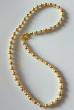 New Handmade Golden Brown Cream Glass Pearl Round Beaded Necklace Toggle Clasp