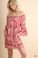 Umgee Red Paisley Off Shoulder Day Shift Dress S M L   Best of The Best!