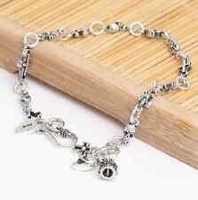 Jewellery Sterling 925 Silver skull cross bracelet Men's Women Religion Gift