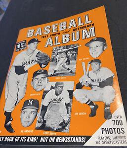 SHARP 1961 BASEBALL PHOTO ALBUM FOR AUTOS~MANTLE~MARIS~MAYS~SPAHN~CLEMENTE~AARON