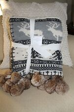 Pottery Barn Fair Isle Reindeer Knit Fur Pom Pom Throw Blanket Christmas Gray