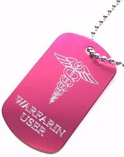 Warfarin User SOS Medical Alert ID Pink Tag + Stainless Steel Chain (P2)
