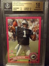 2011 Topps Breast Cancer Awareness #17 Cam Newton BGS 10 Pristine w/10 Pink RC