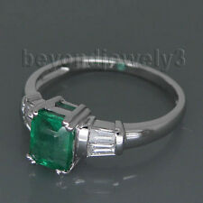 Solid 18k  White Gold Diamond Engagement Emerald Cut 5x6mm Emerald Gemstone Ring