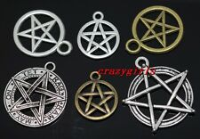 Free Shipping 60pcs Mixed Tibet Silver nice Gothic wicca pentagram Charm Pendant