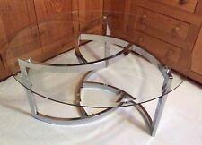 "Mid-Century Modern Beveled Glass & Chrome Coffee Table Milo Baughman Style 38"""