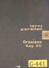 Graziano SAG 20, Torni Paralleli Lathe Eng.-French-Ger-Ital Instructions Manual
