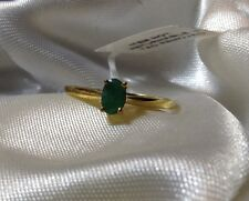 1/2 Ct Emerald Sakota Solitaire Ring In 14K Gold Overlay Sterling Silver: Size S