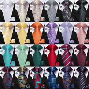 100% Silk Mens Paisley Tie Blue Striped Necktie Set Pink Red Floral Wedding Ties