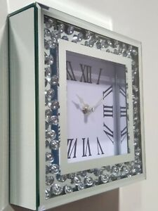 Silver Loose Diamond Crystal Mirrored Glass Square Table Clock Gift