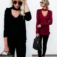 Lady Loose Long Sleeve Sweater Women Choker V-neck Knitwear Pullover Jumper Tops