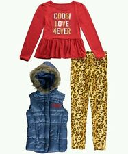 Coogi Girls 3 Piece Set Puffer Vest Jacket , Shirt & Pants Outfit Size 3T