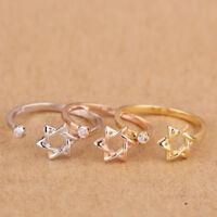 Solid 925 Sterling Silver Adjustable Index/Mid/Little Ring Finger Lady Gift Star