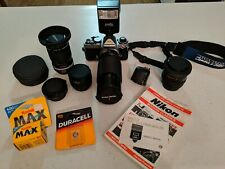 Nikon FE 35mm SLR Film Camera + Multiple Lens + Teleconverter+ bag, accessories