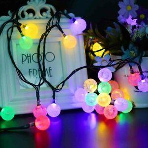 50 LED Solar Powered Fairy Lights String Crystal Ball Garden Outdoor Party Decor