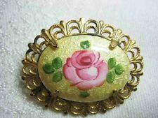 Vintage Pink & Yellow Guilloche Cabbage Rose Brooch