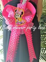 Baby Shower decoration for Girl,Mom To Be Baby Minnie Mouse Sash Ribbon Corsage