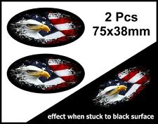2pcs OVALE FADE TO BLACK American Eagle & US Flag in Vinile Auto Adesivo Decalcomania 75mm