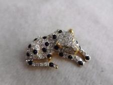 & Black Spot Leopard Pin Signed Gold Tone & White Crystal