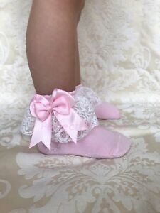PERFECT PRINCESS Spanish Lacey Double Bow Ankle Socks Baby/Girl/Flower Girl/Lace