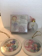 1994 2001 Enesco Precious Moments Christmas Tree Ornament Lot 2 Ball 2 Ceramic