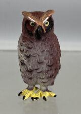 """Brown Black Owl 2"""" Realistic Plastic Figure Figurine Animal K & M 2009"""