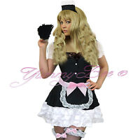 Sexy French Maid Fancy Dress Costume Womens Plus Size Waitress Hen Rocky Uniform
