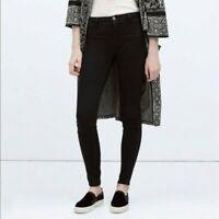 Zara Slim Skinny Jeans Black Denim Mid Rise Trafaluc Faded Stretch Casual Size 4