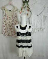 Tank Top Lot Sz Medium Womens Daytrip Bke Forever 21 Rue21 White Lace Boho Shirt