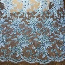 Blue Floral Embroidery Beaded Lace Fabric Cloth for Wedding Dress Gown 1 yds