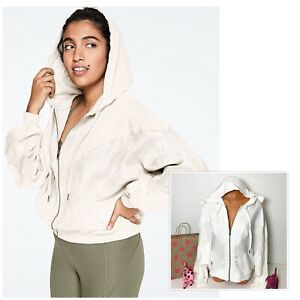 PINK Victoria's secret Slouchy Full Zip Hooded Jacket Size M Optic White