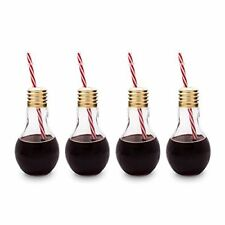 Edison LIGHT BULB Novelty Drinking Glasses With Straw for Cocktails Rum SET of 4