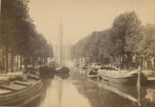 AMSTERDAM CANAL WITH SMALL SAIL BOATS. CABINET CARD.