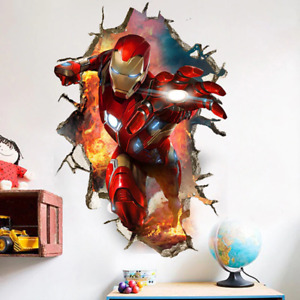 3D superhero Iron Man Rare Collection Wall Stickers kids Room Removable Decal
