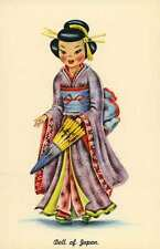 2 Different Dolls of Many Lands Doll of jApan & Doll of India postcards