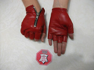 RED  LEATHER FINGERLESS  GLOVES SIZE 6, 6.5, 7, 7.5,8