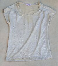 H & M Ladies Gold Sheen Lightweight Short Sleeve 100% Polyester Top Blouse UK 12