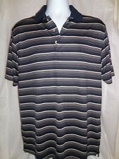 Mens L PGA Tour Golf Shirt Polo Official Apparel Performance Black Striped .