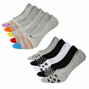 Ladies Invisible 5 Pack Socks Hidden Cotton Rich No Show Trainer Socks Size 4-8