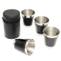 4Pcs Mini Wine Travel Cup Hip Flask with Faux Leather Wrap Outdoor Travel SMART